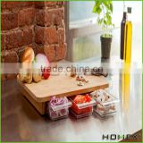 Carbonized bamboo kitchen cutting board w 3 drawers Homex_BSCI Factory