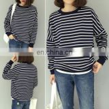 China Supplier Custom Fashion Student Girl Striped Loose Casual Shirt Autumn Blouse Tops