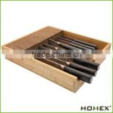 Bamboo knife block Drawer Organizer and Holder ,fit for 9 knives Homex-BSCI