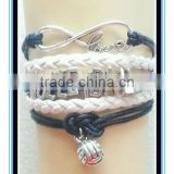 2015 factory price blue & white volleyball bracelet leather volleyball bracelet wholesale