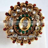 Indian polki diamond rings - kundan polki rings - antique designer rings - one gram gold rings - wholesale online rings