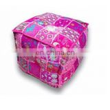 Designer Patch Work Square Shape Ottoman Stool with Embroidery Online