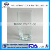 Wholesale Home Decor Clear Square Glass Vase with Pedestal