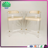 New Design Acrylic Leisure Chair Tall Plexiglass Chair Lucite Bar Stool With Backrest