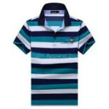 New 100% Cotton Women Short Sleeve Stripe Print Polo-shirt