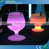 New Design Waterproof Plastic Wine Cup Shape LED Light Ice Bucket with Remote Control 16 Color