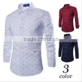 new European and American all-match Mens anchor printing long sleeve shirt