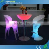 GLACS Control plastic patio furniture LED lighting bar stools