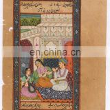 Indian Water Color Painting Ethnic Wall Decor Mughal Harem Scene Paper Painting