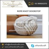 "Heavy Rope Knot Doorstop 7"" Diameter Safe and Protected"