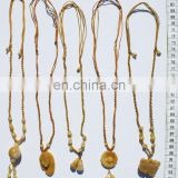 Yellow carved necklaces, natural jewelry, exotic jewelry
