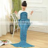 Hot selling cute thick knitted kid's mermaid tail blanket
