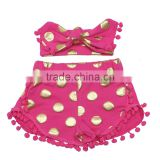 Cotton Classic Polka Gold Dot Girl's Pom Pom Shorts and Headband