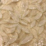 2017 Hot selling Pearl Beaded Ivory Lace Fabric Lace Embroidered wedding bridal Fabric