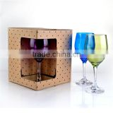 color white wine glasses cup with clear steam with gift box