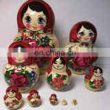 Handmade Matryoshka with Red Rose Flowers Wooden Russian Toys For Children Matrioska Dolls Within Dolls Set 10pc