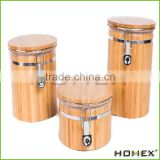 Bamboo airtight round spice jar storage canister Homex-BSCI Factory