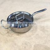 Mirror polished 2.2mm 3ply bottom stainless steel 304 cooking pot/single handle induction soup pot for hotel