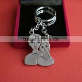 Zinc alloy keychain with refilled coloring