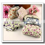 Fresh flower print cotton fabric metal button Coin wallet,pocket wallet for ladies