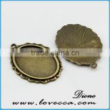 14mm flat round cabochon pendant tray	,DIY jewelry cameo jewelry settings,Metal Charms Flower setting