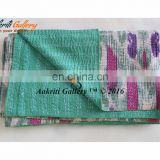 Ikat Bean Print Twin Size Kantha Quilt Kantha Throw Indian Cotton Quilt bedspread
