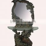 antique vase style console table with mirror