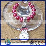 Silver Snowflake Wine Glass Charms with Enamelled Colourful Christmas Theme Charm