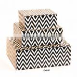 black and white chevron pattern bone box available in all sizes and colours