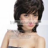 Natural Short synthetic Curly hair lace wig, lady's short wigs suppliers