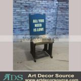 decoratived Coffee shop solid wood chair with custom words