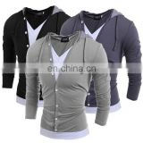 New Fashion Mens V Neck Long Sleeve Slim Fit Hooded Casual T-Shirt Tops Tee Shirts
