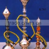 Brass hookah with wood and acrylic decoration