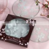 Cherry Blossom Frosted Glass Coasters