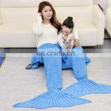 Family sleeping bag child and adult mermaid tail blanket
