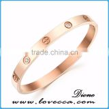 Rose gold stainless steel open screw bangle bracelet cuff love bracelet