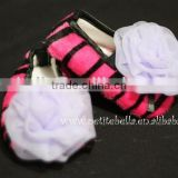 Hot Pink Zebra Print Shoes with Light Purple Rosettes Pettishoes Crib Shoes MAS33