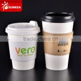 Disposable paper <b>hot</b> <b>cup</b>s with lids and <b>cup</b> <b>sleeve</b>s