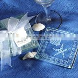 Wedding Favors Of Shell and Starfish Frosted Glass Coaster