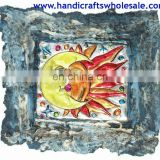 Large Sun and Moon Modern Art Painting Hand Painted Collectible Tribal Craft Unique Wall Paint Decor Affordable Home Artwork