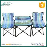 Striped oxford camping picnic table with 2 chairs