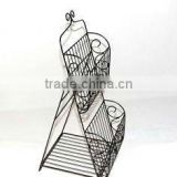 TWO-TIERED METAL COLLAPSIBLE FLOOR MAGAZINE RACK