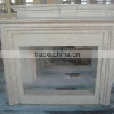 Marble stone round indoor fireplace mantel