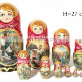 Summer Style Country Life Images Nesting Dolls For Children Russian Toy Doll Traditional Baby Toys Set 10 pc