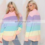 Bright Rainbow Lever Stripe Mock Pullover Ribbed Knit sweater OEM service