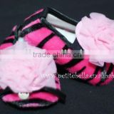 Hot Pink Zebra Shoes with Light Pink Rosettes Pettishoes Crib Shoes MAS23