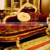 Luxury French Rococo Style Golden Frame Red Fabric Chaise/ Wood Living Room Chaise Lounge/ Fabric Daybed Couch Reclining Chair