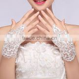 top quality white lace wedding gloves/zhug bridal lace gloves/fancy wedding gloves