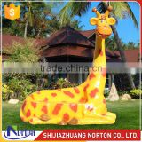 Cartoon animal seat fiberglass sculpture for garden decor NTRS-066LI