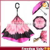 Fashion Flower Print Inside Upside-down Umbrella Kazbrella                                                                                         Most Popular